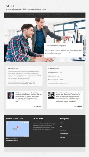 how to setup the front page template on the motif theme for wordpress james riddett. Black Bedroom Furniture Sets. Home Design Ideas